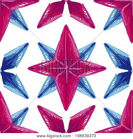 abstract seamless background with sketch style stars, geometric pattern, pink and lilac colors, vector illustration