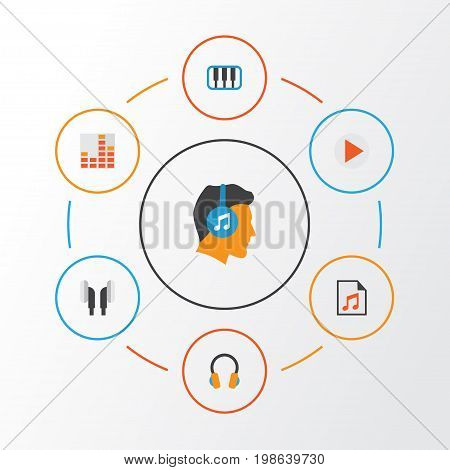 Multimedia Flat Icons Set. Collection Of Ear Muffs, Earpiece, Pianoforte And Other Elements