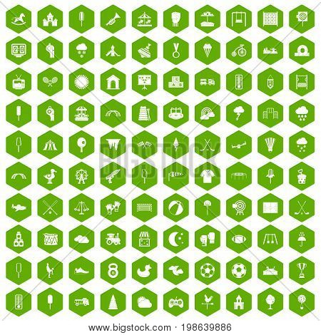 100 childrens playground icons set in green hexagon isolated vector illustration