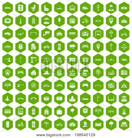 100 city icons set in green hexagon isolated vector illustration