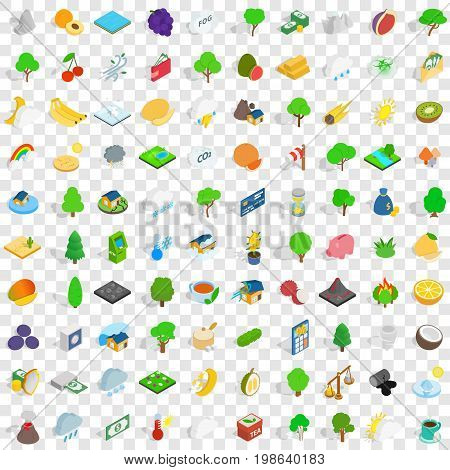100 vital icons set in isometric 3d style for any design vector illustration