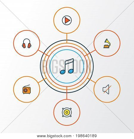 Audio Colorful Outline Icons Set. Collection Of Set, Sound, Play And Other Elements