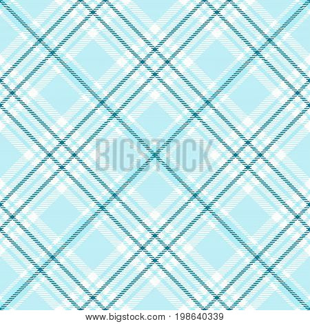 Seamless tartan plaid pattern. Traditional checker texture for digital textile printing. Stripes of light blue, teal blue and white.