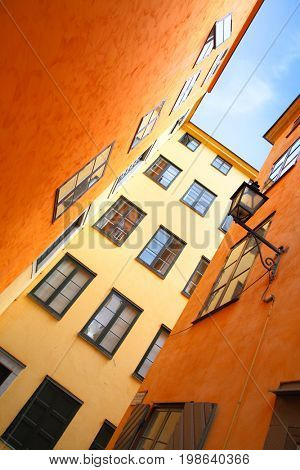 Colorful houses in old town of Stockholm, Sweden