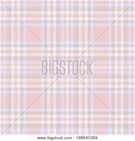 Seamless tartan plaid pattern. Traditional checker texture for digital textile printing. Faded blue, red and gray,