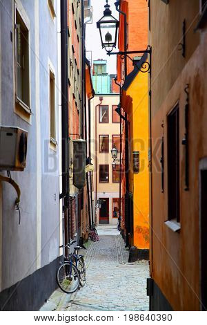 Picturesque old side street in Stockholm, Gamla Stan, Sweden