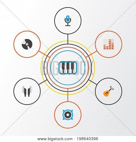 Music Flat Icons Set. Collection Of Controlling, Loudspeaker, Earpiece And Other Elements
