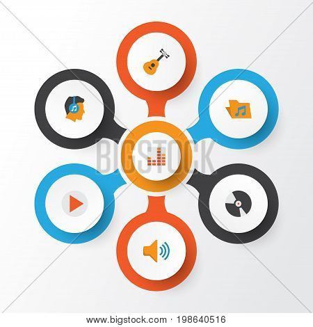 Music Flat Icons Set. Collection Of Controlling, Button, Male And Other Elements