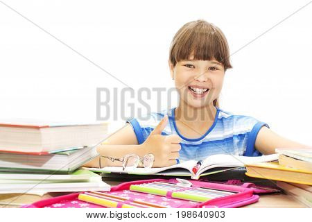 Happy Student With Books On White Background.