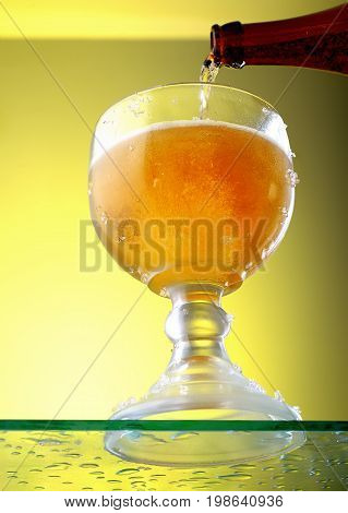 Bottle and a glass of transparent cold beer on a light background