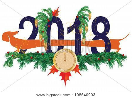 New Year 2018 vector illustration with dog and clock