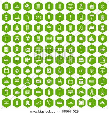 100 comfortable house icons set in green hexagon isolated vector illustration