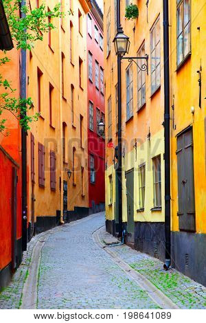 Perspective of colorful old street in Stockholm, Sweden