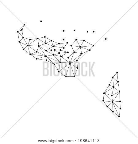 Tonga map of polygonal mosaic lines network rays and dots vector illustration.