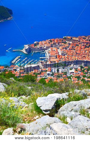 View of Old town of Dubrovnik from hill, Croatia