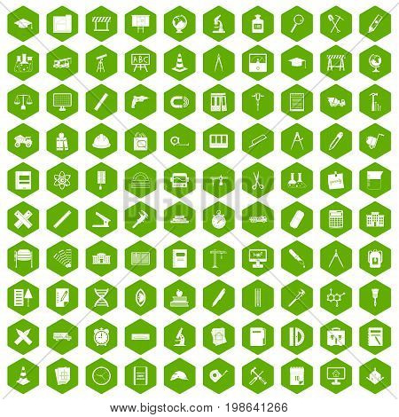100 compass icons set in green hexagon isolated vector illustration