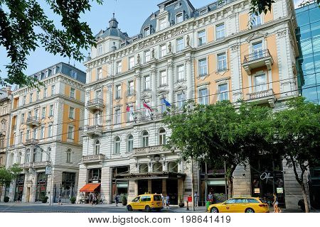 BUDAPEST HUNGARY - JUNE 3 2017: Exterior of Corinthia Hotel Budapest known as