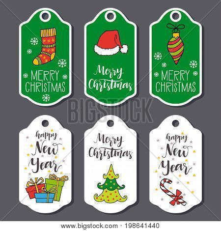 Christmas and New Year greeting card collection with hand drawn lettering. Holiday design elements for decorations