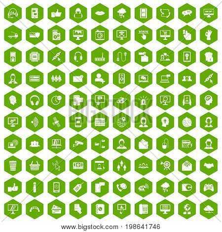 100 contact us icons set in green hexagon isolated vector illustration