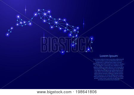 Turks and Caicos Islands map of polygonal mosaic lines network rays and space stars of vector illustration.