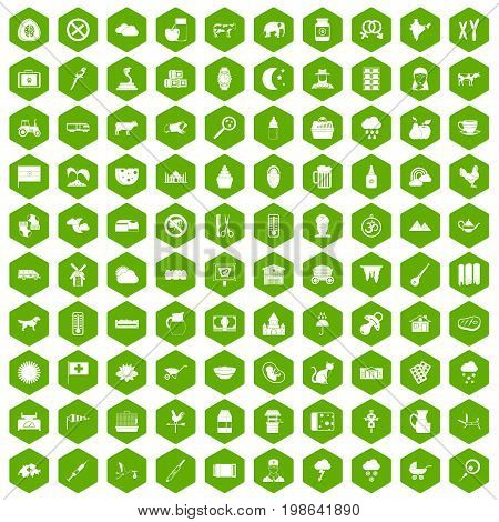 100 cow icons set in green hexagon isolated vector illustration