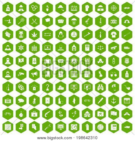 100 crime investigation icons set in green hexagon isolated vector illustration