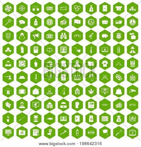 100 criminal offence icons set in green hexagon isolated vector illustration