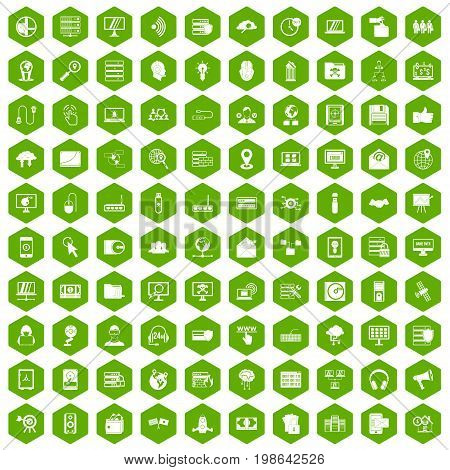 100 cyber security icons set in green hexagon isolated vector illustration