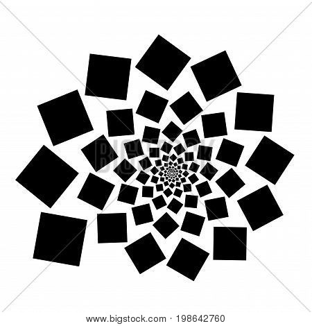 Background, Pattern, Black And White Spiral Pattern. Round Centered Halftone Illustration. Square, S