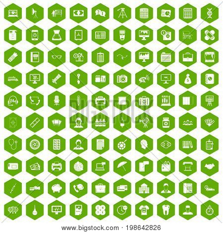 100 department icons set in green hexagon isolated vector illustration