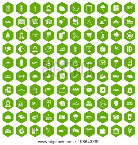 100 dispatcher icons set in green hexagon isolated vector illustration