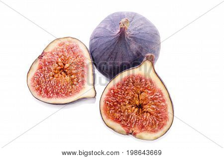 Fruits Of Fig Tree ( Whole And Part)  Isolated On White