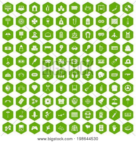100 entertainment icons set in green hexagon isolated vector illustration