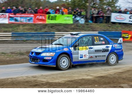 HORN, AUSTRIA - OCTOBER 31: Austrian driver Joerg Rigger takes part in the 28th Waldviertel Rallye on October 31, 2009 in Horn, Austria. Raimund Baumschlager (not pictured) won the race.