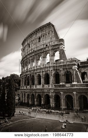 Colosseum closeup view with long exposure, the world known landmark and the symbol of Rome, Italy.
