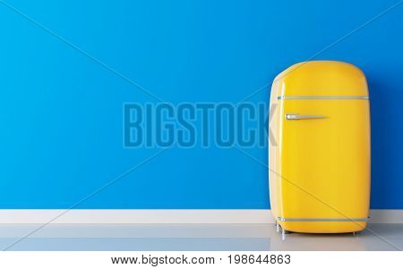 Old yellow fridge and blue wall. 3d illustration