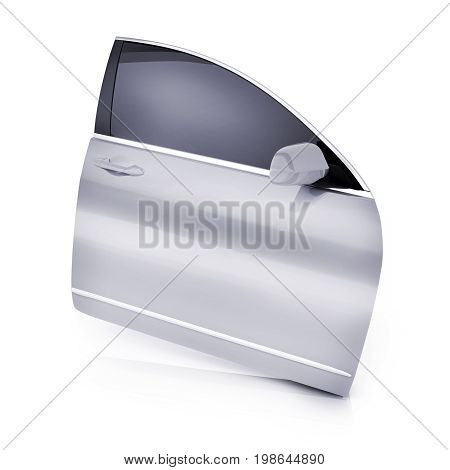 Only one car door on white background. 3d illustration