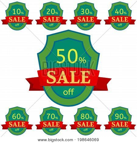 Set of discount stickers. Green badges with red ribbon for sale 10 - 90 percent off. Vector illustration.