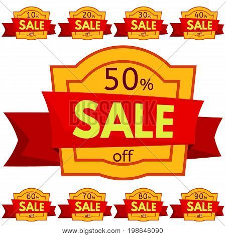 Set of discount stickers. Yellow badges with red ribbon for sale 10 - 90 percent off. Vector illustration.