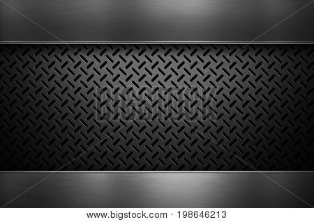 Abstract modern perforated metal sheet with polished metal plates banner place for text in center material design for background graphic design