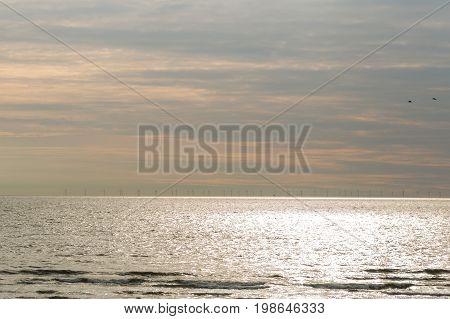 Sunset background north sea. Zandvoort Holland s