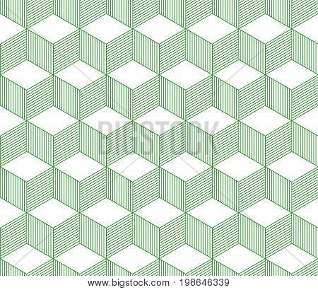 Abstract 3d striped cubes geometric seamless pattern in green and white, vector background
