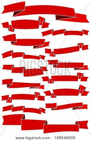 Set of fifteen red cartoon ribbons and banners for web design. Great design element isolated on white background. Vector illustration.