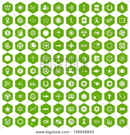 100 graphic elements icons set in green hexagon isolated vector illustration