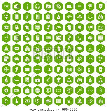 100 hacking icons set in green hexagon isolated vector illustration