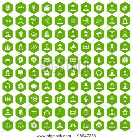 100 headhunter icons set in green hexagon isolated vector illustration