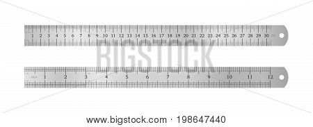 Realistic metal ruler 30 centimeters and metal ruler 12 inches. Measuring tool. School supplies. Vector illustration