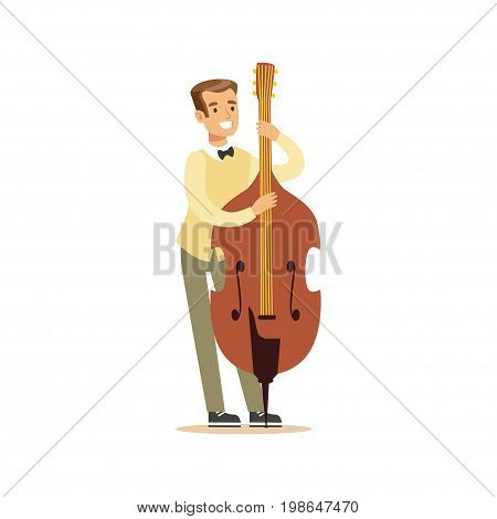 Young cellist playing cello vector Illustration on a white background