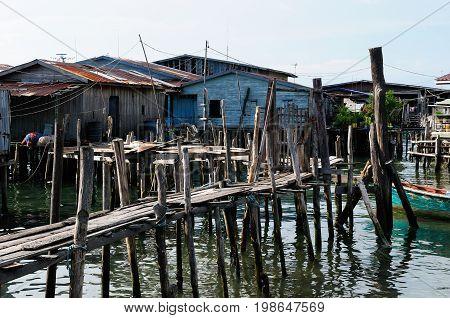 Cambodia. Koh Sdach island near the beautiful coast Botum Sakor National Park. Fisherman wood house
