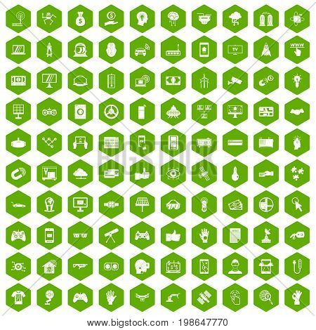 100 hi-tech icons set in green hexagon isolated vector illustration